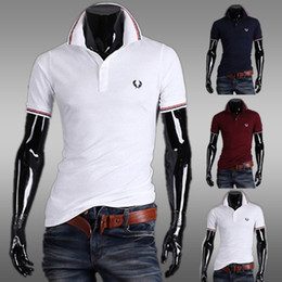 Wholesale Occident Fashion Men Slim T shirts Stripe Turn down Collar T shirts Casual Fashion Embroidery Short Sleeve Polo Shirts Colors Size