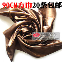 Cheap free shippingLarge square satin satin large square solid scarf shawl 90cm square brown wholesale