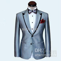 Wholesale Custom made men suit silver mens wedding suit black double collar mens tuxedos Jacket Pants Tie Poke