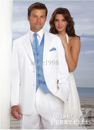 Wholesale Custom Made Groom Tuxedos White Two Buttons Notch Lapel Best man Groomsman Men Wedding Prom Suits Bridegroom Jacket Pants Tie V