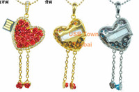 Wholesale Crystal rose heart metal Model necklace pendant Jewelry USB Flash Memory Pen Drive Stick GB GB GB GB GB