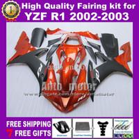 Wholesale gifts free custom gifts orange black fairing kit for YAMAHA YZF R1 YZFR1 YZF R1 ABS fairings amp windscree