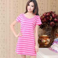 Wholesale New arrival cotton sleepwear female summer short sleeve cotton nightgown stripe design long plus size