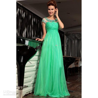 Wholesale 2014 New Arrival Vintage Charming Evening Dresses A Line Crew Green Chiffon Beads Cap Sleeve Formal Dress Hot Custom Made