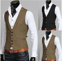 Wholesale New man suit vest slim vest british style male suit vest
