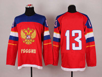 Ice Hockey Men Full 2014 Olympics Team Russia Jerseys Ice Hockey Jerseys Men`s Pavel Datsyuk #13 Red Hockey Jerseys Mix Order