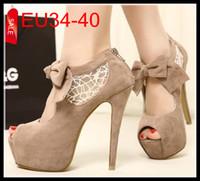 Women beige high heels - 2014 Newest Beige Bowtie Lace Shoes Peep Toe CM High Heels Womens Party Night Club Dress Shoes EU to ePacket