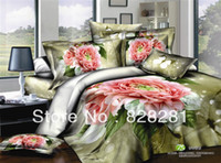 Cheap reactive printing bedding pink flower bedding sets 4pcs 100% cotton bedclothes king queen size bedsheets duvet quilt cover b51