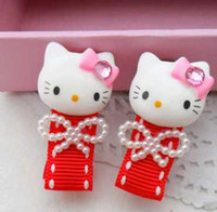 Wholesale 2014 Special offer Children Barrettes BB hairpin summer accessories hairpin Cartoon cat barrettes gymboree Beads hairpin red barrettes