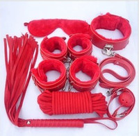 Wholesale sm sex toys handcuffs and leg irons collar female mouth Seppi whip rope tied bondage toys suit alternative