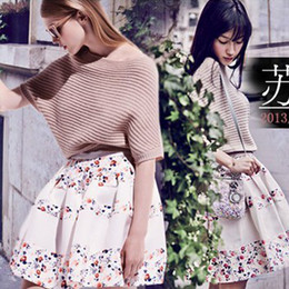 Wholesale 2014 summer new hot cool sexy package hip skirt printed skirts chiffon organza skirt bud