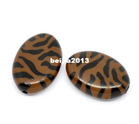 B10888 acrylic zebra beads - Coffee Zebra Striped Oval Acrylic Spacer Beads B10888