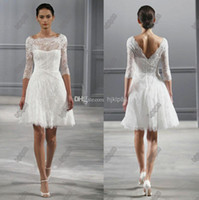 Wholesale Illusion Bateau Neck Sleeves Monique Lhuillier Spring Short Wedding Dresses Knee length Beach Backless Wedding Dress Little White