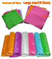 Wholesale EMS Free ship Large size cm Double layer bamboo fibre towels Not sticky oil towel kitchen wash microfiber cleaning cloths hot sell