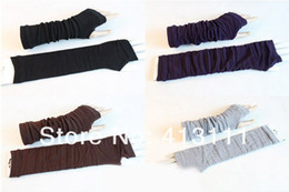 Wholesale EMS Free spring autumn lady girls sweet fashion warm mitten long gloves wrist cover arm cover Modified arm glove with exposed fingers