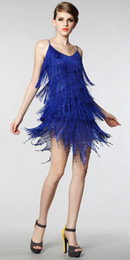 Wholesale Hot Sale Fashion sexy scoop spaghetti straps tassel royalblue red high end Latin and Jazz dance dress