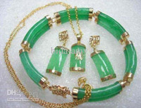 Wholesale Costume Jewellery Green Jade Lucky Necklace Bracelet Earring Sets