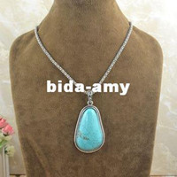 Wholesale Vintage Look Drop Turquoise Necklace Antique Silver Plated Exotic Retro Jewelry N165