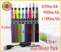 Electronic Cigarette Set Series  High quality ego CE4+ blister kits e cig Electronic Cigarette ce4+ atomizer 650mah 900mah 100mah battery in Blister pack e cigarette