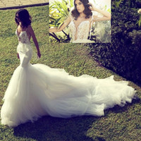 Wholesale 2014 Best Sexy Spaghetti Strap Corset Bodice See Through Mermaid Backless Wedding Dresses Deep V neck Lace Tulle Chapel Train Wedding Gowns
