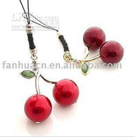 Pendant Necklaces   Wholesale - Hot selling, cheap lovely fashion jewelry Cherry mobile phone charms
