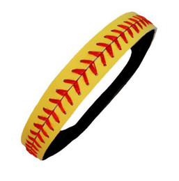 Retail & Wholesale 3pcs yellow real leather softball seam headband