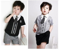 Boy Summer  New Children Flag Sports Suit Boy's Girl's Baby Clothing Sets Kids Garment summer suit shirt tshirt+ pants+tie cheapest pricemnb