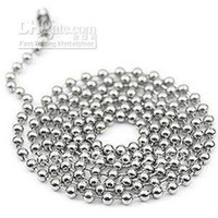 Chains Yes Chains Wholesale - 50pcs Free Shipping 2.4mm 28inch Stainless Steel Ball Beads Necklace Chain Stainless Steel Ball Chai