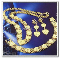 Wholesale Copper with K gold plated jewelry sets necklace earrings bracelet