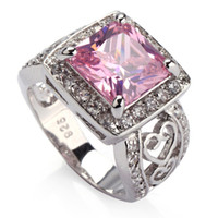 Wholesale Trendy Pink Kunzite Cubic Zirconia fashion Silver Plated ring sz