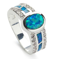 With Side Stones blue stone ring - Classic white stone wite blue opal silver Plated ring R168 SZ First class products Recommend Promotion
