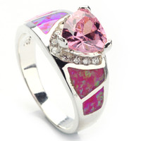 Wholesale Pink Cubic Zirconia with Pink opal purple silver ring R341 SZ