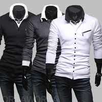 Men Cotton Polo 2014New Style Men Slim Buttons Cardigan Summer T-shirts Turn-down Collar Casual Fashion Slant Zipper Long Sleeve Polo Shirts 3 Colors 4 Size