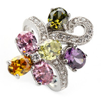 Wholesale Pink Peridot Morganite Blue yellow crystal fashion Trendy Silver ring sz