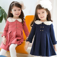 Cheap Hot Pleated Skirt New Girl Dress Autumn Skirt Stripe 2 Colour One Piece High Quality Jupe Aged 3-8Y F44
