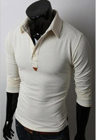 Wholesale Occident Fashion Style Men Slim Summer T shirts Plus Size Bottons Turn down Collar T shirts Casual Long Sleeve Polo Shirts Colors Size