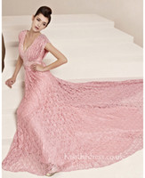 Wholesale 2014 Elegant Tarik Ediz A Line Modest Pink Lace V Neck Sequins Bandage Formal Evening Gowns Sweep Train Party Dresses