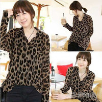 Cotton Women Button Best Quality Womens Leopard Print Top Long Sleeve Button Down Chiffon Blouse,women top and blouse S M L XL XXL