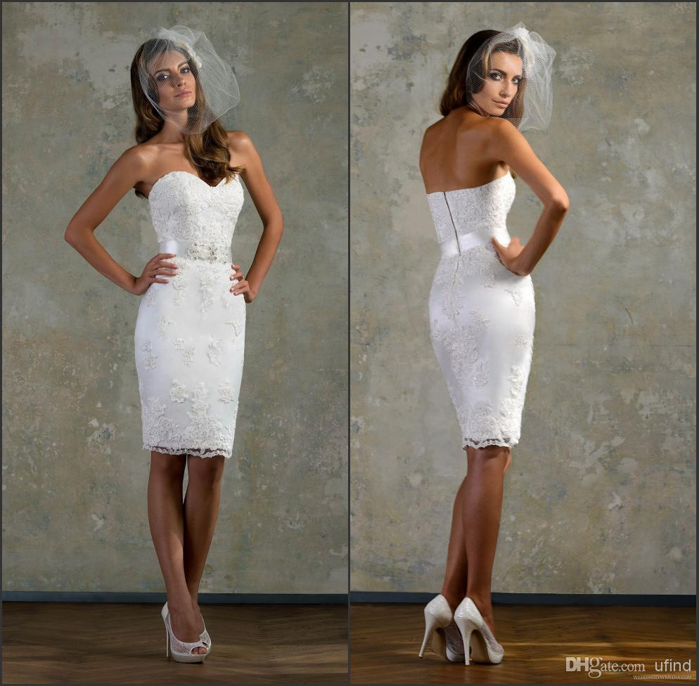 Hot Lace White Little Cocktail Party Dresses Bridal Gown ...
