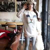 Wholesale New Arrival Fashion Womens Girls Blue Eyes Cat Face Hoodie Long Warm Sweatshirt Jumper amp