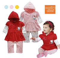 Wholesale Girl s Hooded One piece Romper Long Sleeve Jumpsuits Colors Sizes Mth Mth Bodysuits Rompers Baby Bodysuit