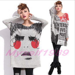 Wholesale Fashion Oversized Casual Loose Sweater Tops Plus Size Knitwear Knitted Beautiful Face Newspaper Pattern Outwear