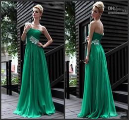 2014 applique green chiffon floor length A-line graduation dresses sleeveless modern ruffle one shoulder zipper sequins beading beads