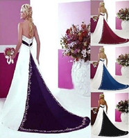 Wholesale 2014 Sexy A Line Strapless Neckline Beaded Applique Chapel Train Garden Church White and Black Satin Backless Wedding Dresses for Bridal