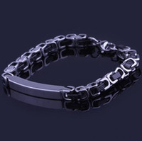 Wholesale Stainless steel bracelet carved across chain contrast color men s jewelry gift fashion titanium steel bracelet high quality jewelry