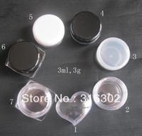 Wholesale DHL g clear square cream jar black cosmetic container cc plastic sample jar display case