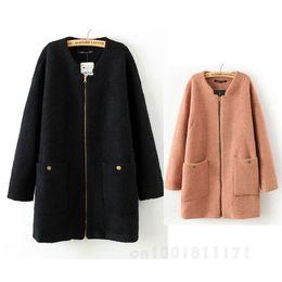 Wholesale GOOD Sale Women s Boutique Solid Color Crew Neck Circle Wool Zipper Coat WF