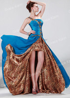 Wholesale pc Grace Karin One Shoulder Split Silk like Blue and Leopard Print Long Designer Evening Dress CL4407
