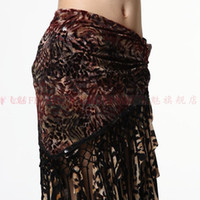 Cheap The new tribal style belly dance hip scarf Yao Jin hip towel gauze bandage bandage flocking tassel women wear dancing costumes belts