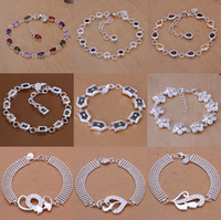 Wholesale Newest Silver Charm Bracelet Different Styles Can Be Mixed Order Gemstone Jewelry YSSL201